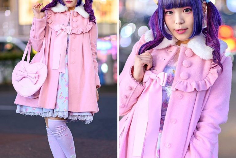 19-year-old Japanese student YuzuRemon (@yuzu_96_) on the street in Harajuku wea...