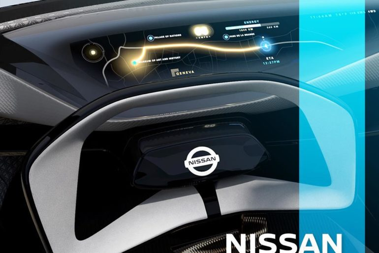 With an 840-millimeter screen embedded in the dashboard, the Nissan IMQ gives th...