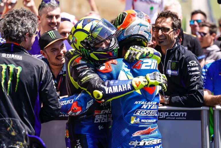 Sportsmanship and podium celebrations.  . . #MonsterYamaha | #MotoGP | #Americas...