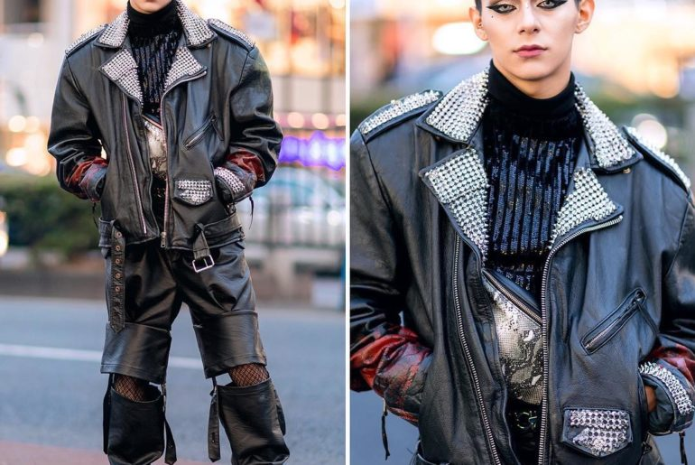 Dancer @Harris_iPride on the street in Harajuku wearing a vintage remake studded...