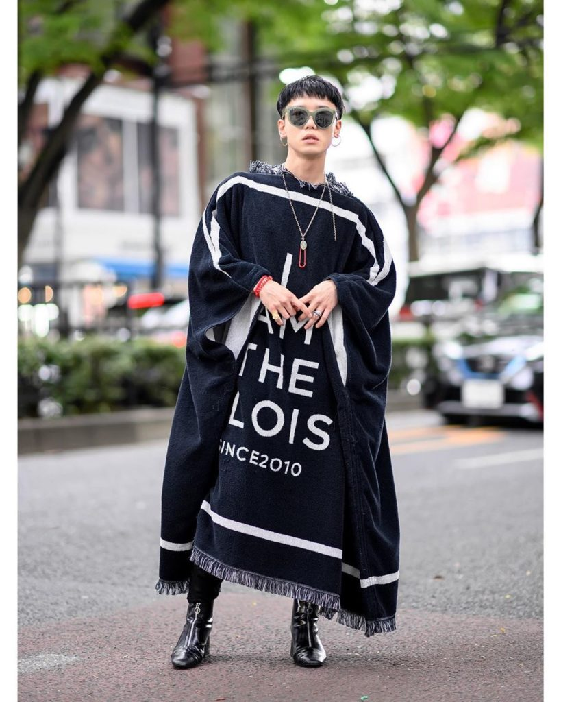 Japanese fashion designer S You (@send_by_s_you) on the street in Harajuku weari...