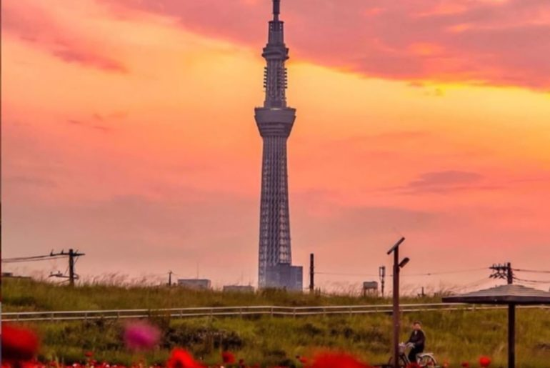 Tokyo Skytree looks even more dramatic at sunset! The Arakawa River is a great s...