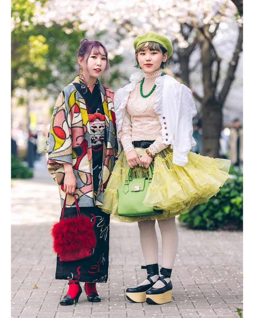Japanese fashion students Yui (@yui.ozawa) and Lina (@a_2n6a) on the street in T...