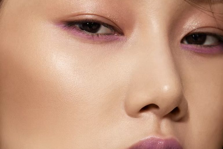 Spring forward with strategic color. Wake up eyes with a vivid violet liner. Sof...