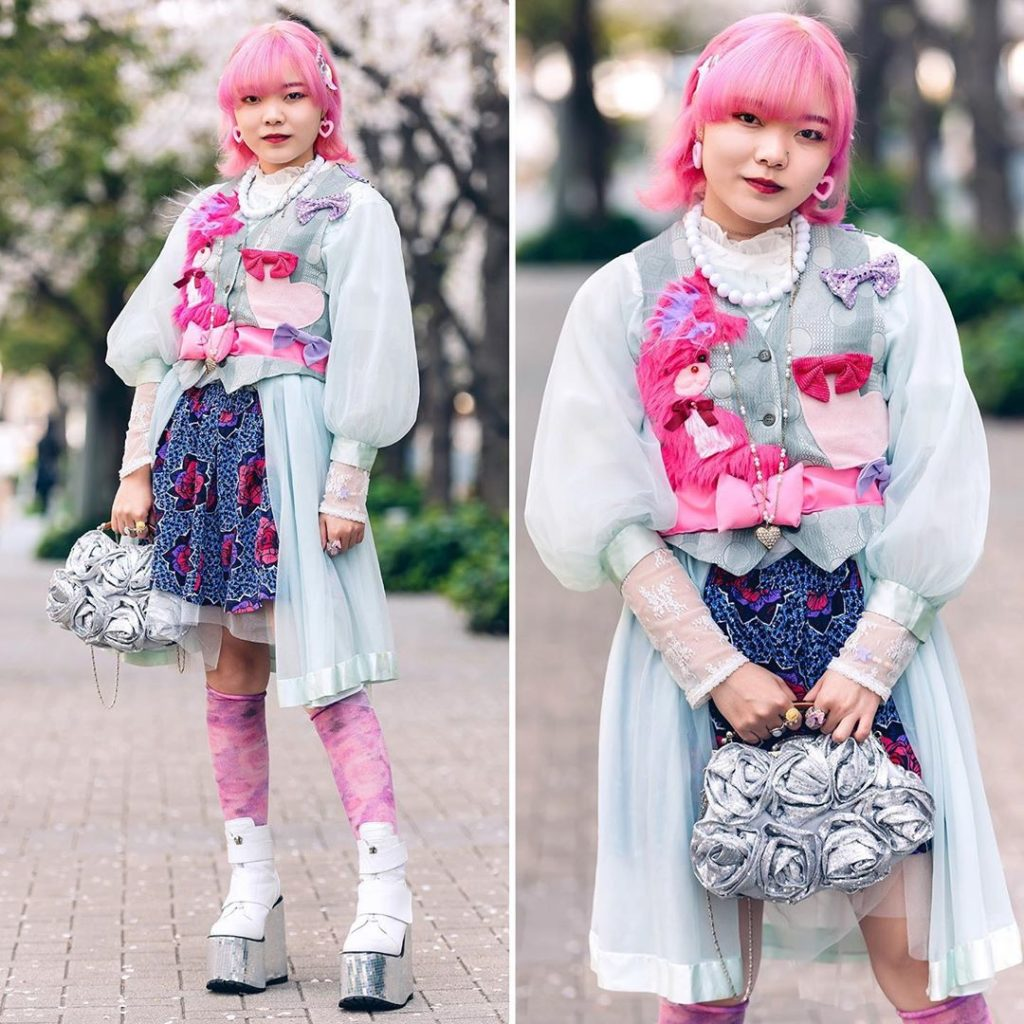 Japanese fashion college student Momoka (@momoka_sg) on the street in Tokyo wear...