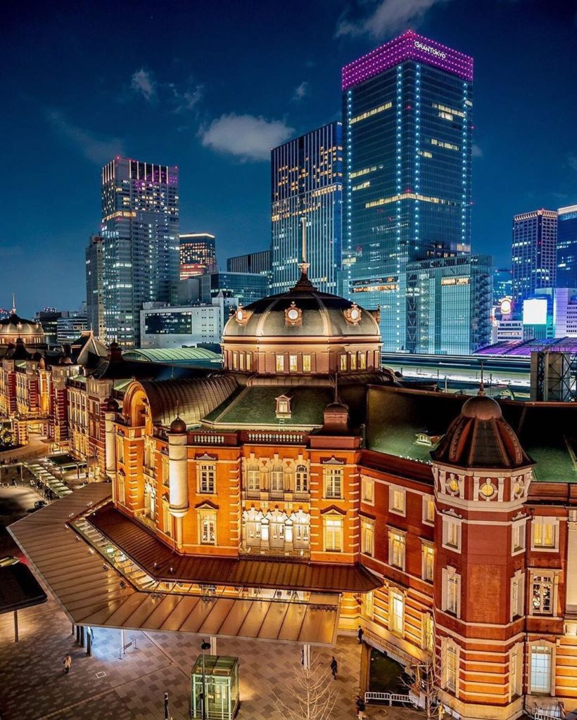 . The beautiful Tokyo Station glowing in the night. It is easy to miss the beaut...