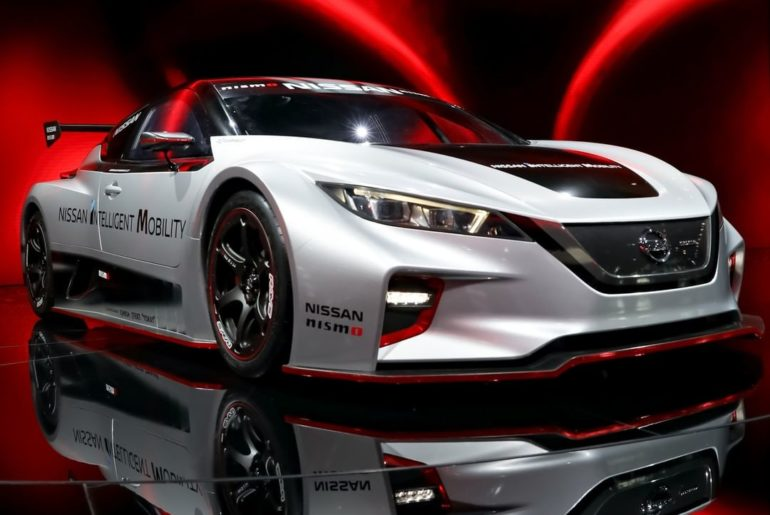 Designers of the #NissanLEAF #NISMO RC used the distinctive silver-and-black pai...