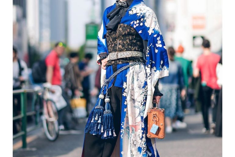 Karumu on the street in Harajuku wearing a vintage Japanese kimono with a ruffle...