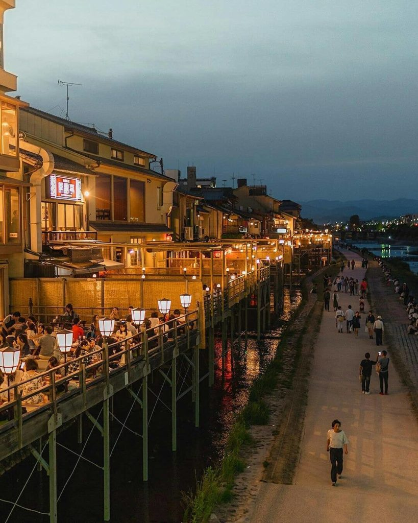 In the warmer months, Kyoto locals head to the Kamogawa River for some al fresco...