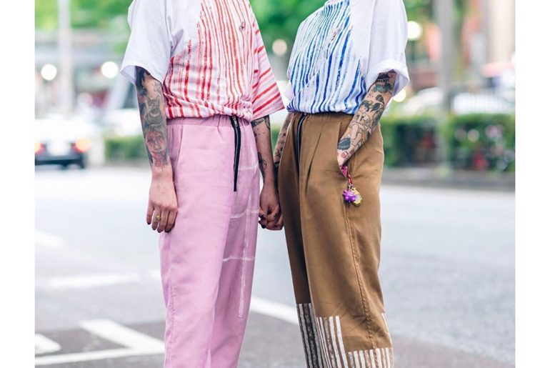 AogiRi (@AogiRinoki13) and Blue (@blvvelvet) on the street in Harajuku wearing s...