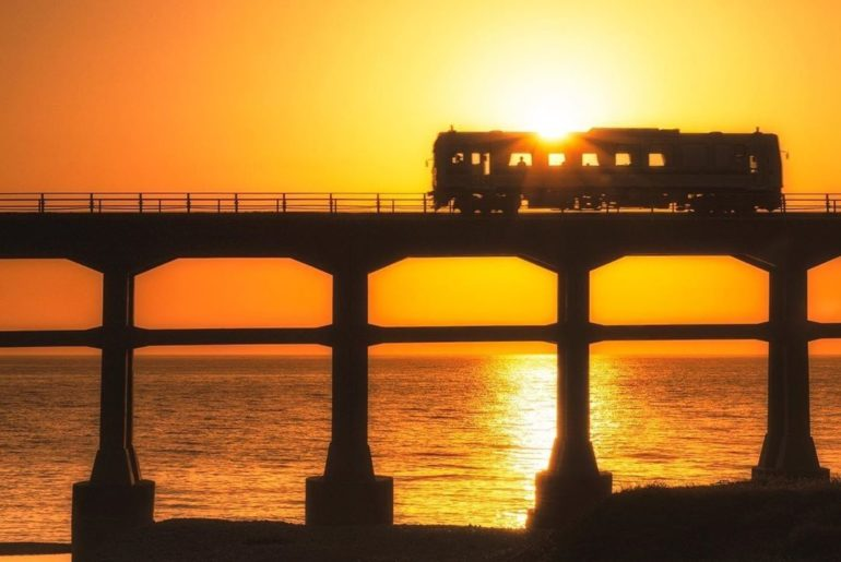 A local train during sunset in Yamaguchi Prefecture.  ・ Thanks to @soramiphoto f...