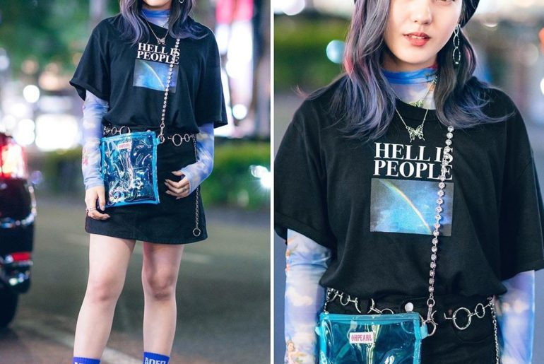 18-year-old Yuka (@machuu____) on the street in Harajuku wearing a Faith Tokyo b...