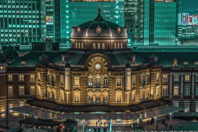 Tokyo Station glows like a jewel after dark! The original station is a beautiful...