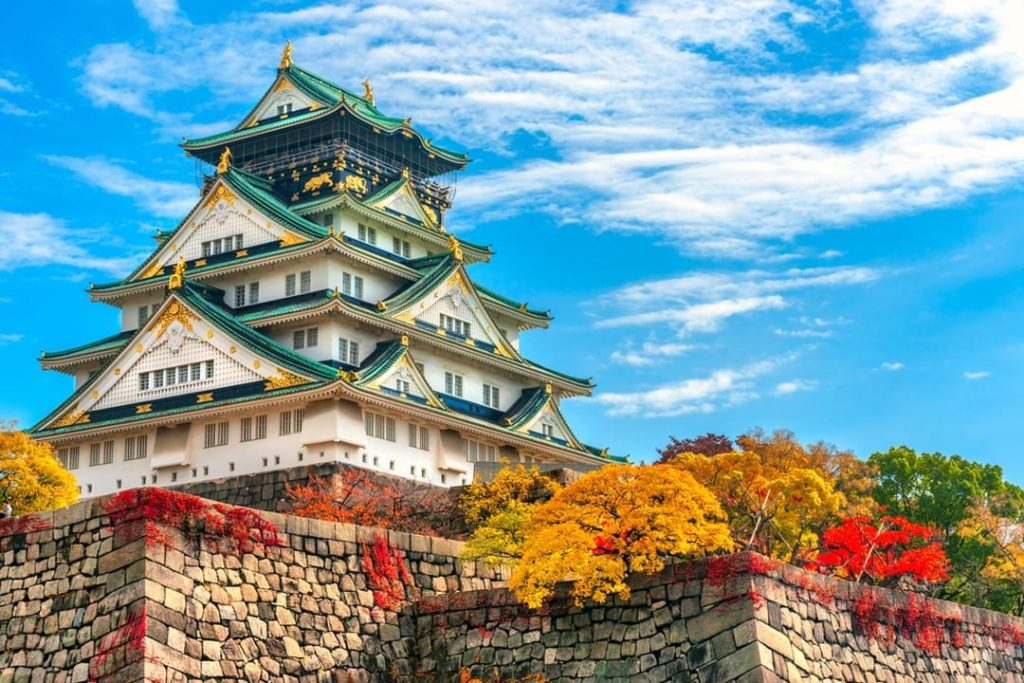 The fall leaves make Osaka Castle look even more dramatic! Be sure to go up to t...