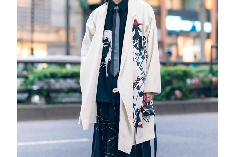 17-year-old Midori (@yeyiyii) on the street in Harajuku with fashion by Yohji Ya...