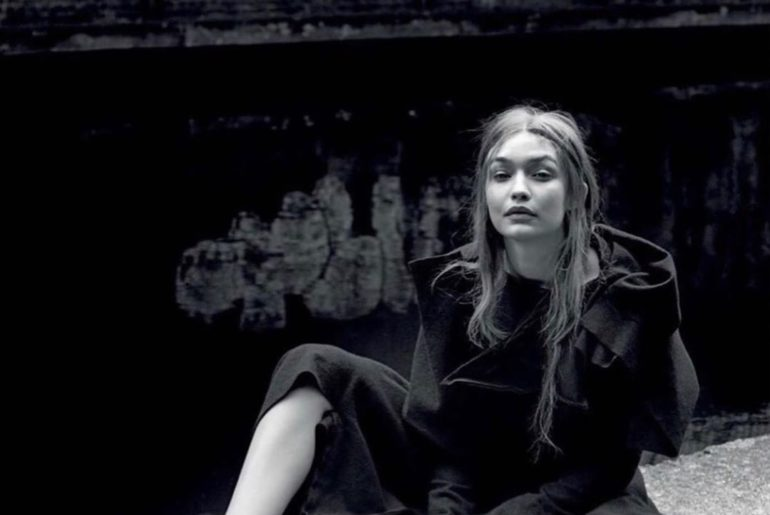 @gigihadid wearing Yohji Yamamoto dress for @vogueitalia July issue.  Shot by @a...