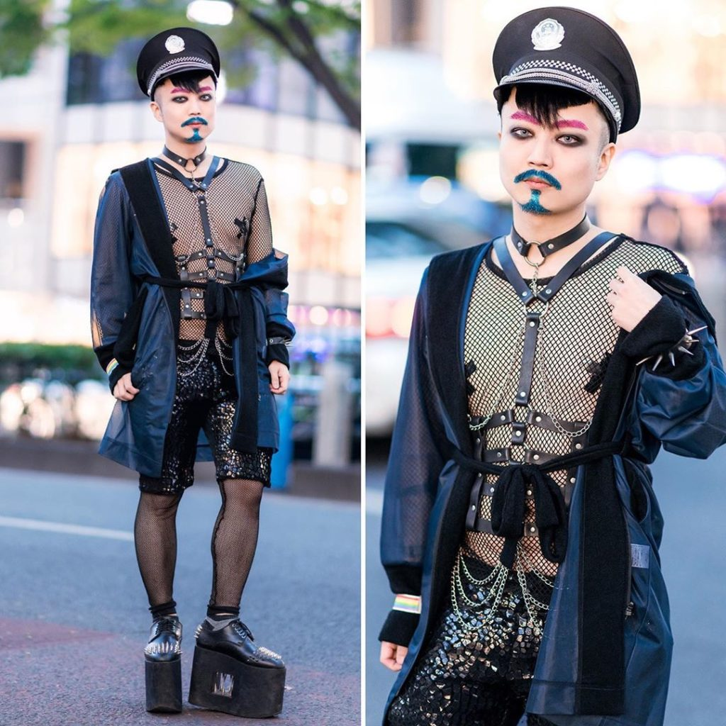 Japanese pianist and composer Ohshi (@oshy_wu) on the street in Harajuku with a ...