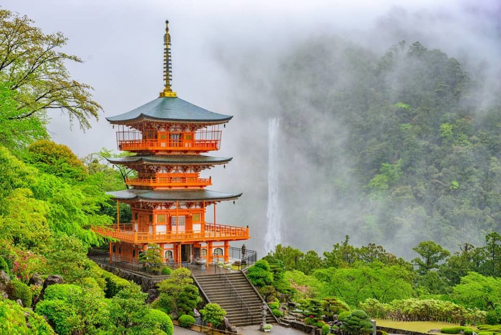Located in Wakayama Prefecture, perched in front of the stunning Nachi Falls, th...