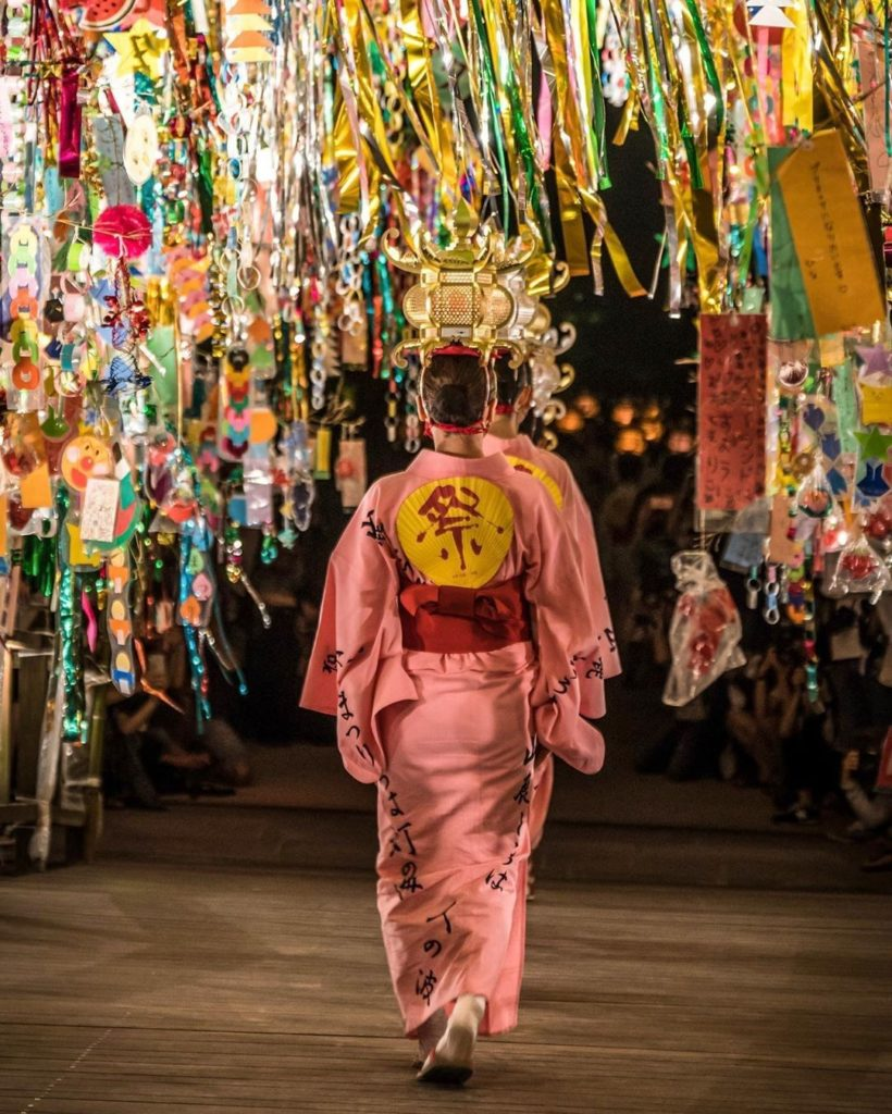 Yamaga lantern dancers at the Tanabata festivities at Dazaifu Tenmangu Shrine. A...