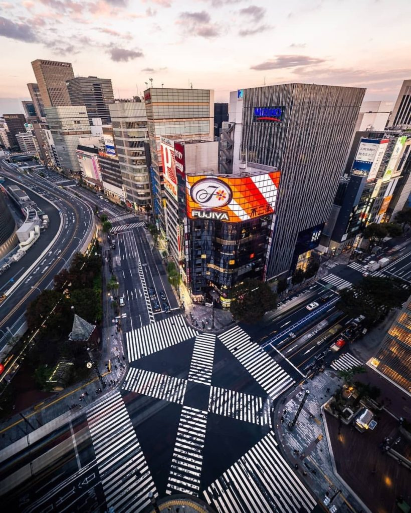 Zebra crossings in every which-way possible  : @photocostier -----⠀ Ginza, #Tok...