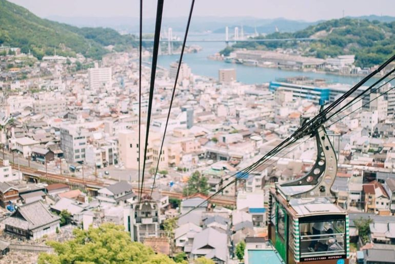 Up, up and away!  Enjoy some impressive views over Onomichi City and the Seto In...