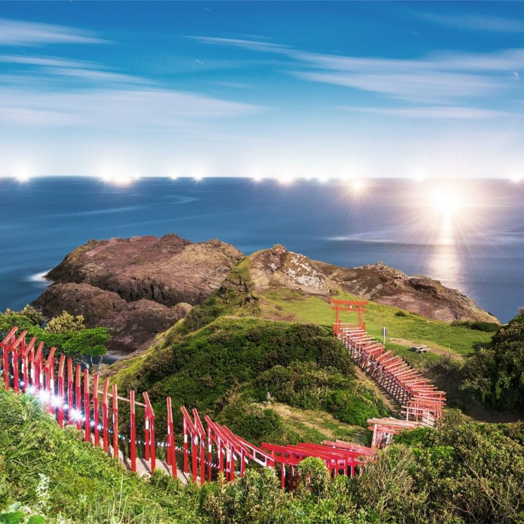 . A stunning view of the Sea of Japan from the Motonosumi Shinto shrine, where c...