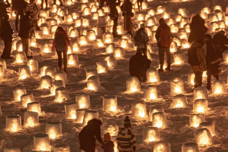 Winter in Japan can be magical! Catch these snow lanterns at the Yokote Kamakura...