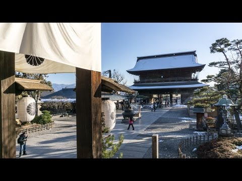 Zenkoji Temple and surrounding streets on a cold day, Nagano, Japan