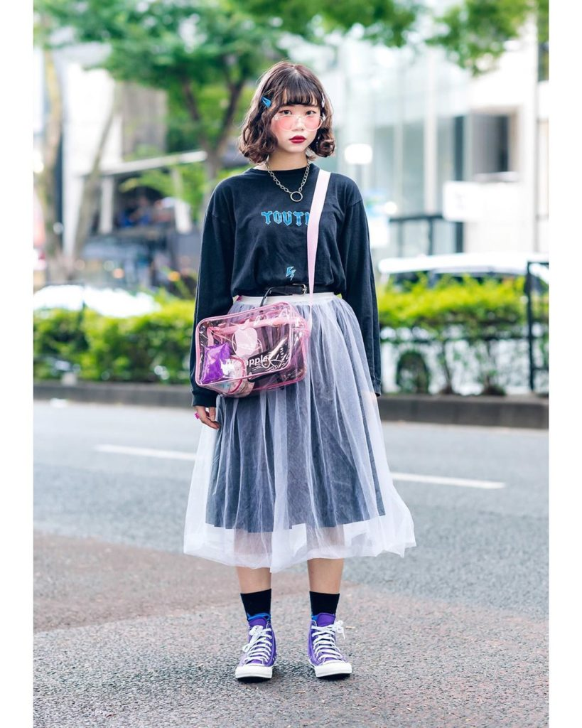 19-year-old student Jun (@kky_Dream) on the street in Harajuku wearing a vintage...