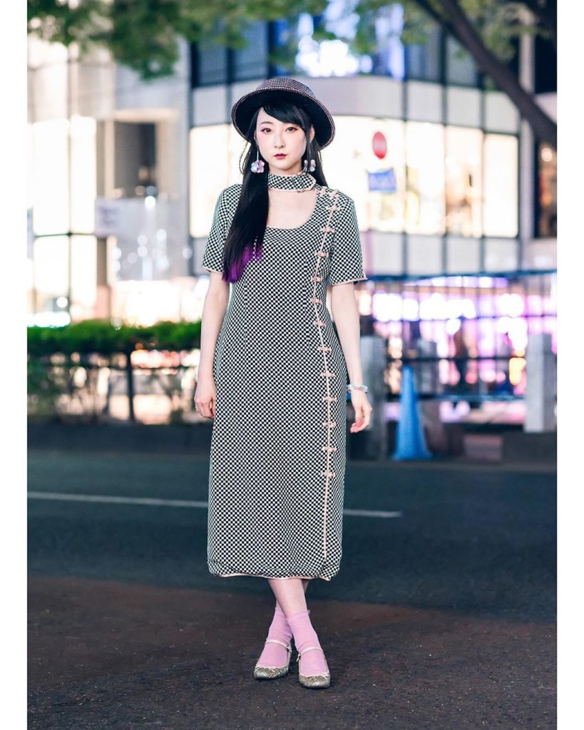 Tokyo model RinRin Doll (@rinrindoll) on the street in Harajuku wearing a dress ...