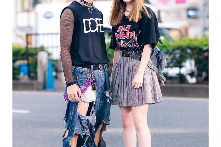 Japanese teens Kan (@doku_tokuuu) and Kureha (@mmkureha) on the street in Haraju...