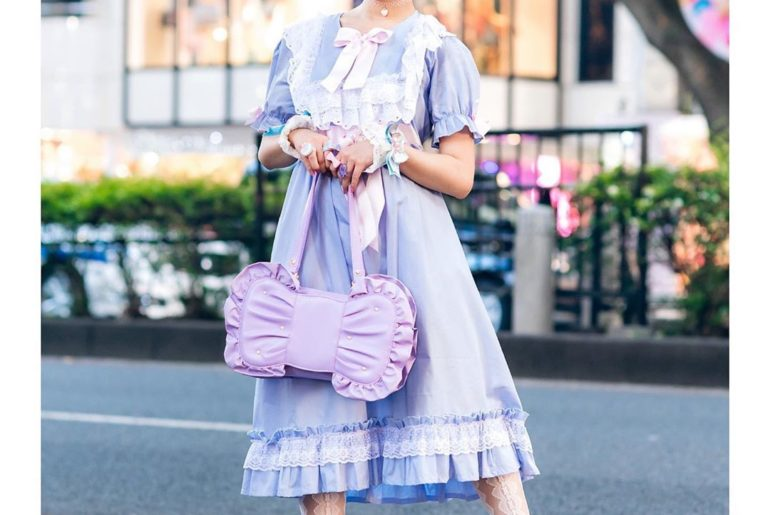 Reona (@meruru45pyon) on the street in Harajuku wearing a kawaii pastel style wi...