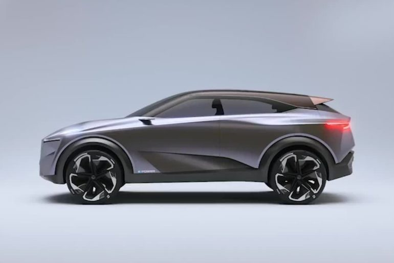 At the rear of the #NissanIMQ, a vertical character line drops from the rear lig...