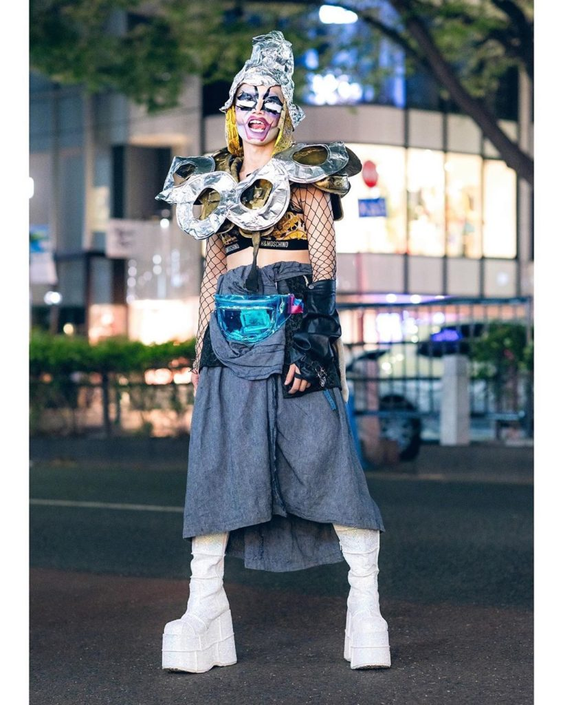 Japanese designer TKM Freedom (@all_knowing_nothing) on the street in Harajuku w...