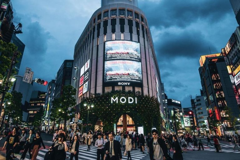 Streets of Shibuya! The Modi Building that you can see in the picture is a shopp...