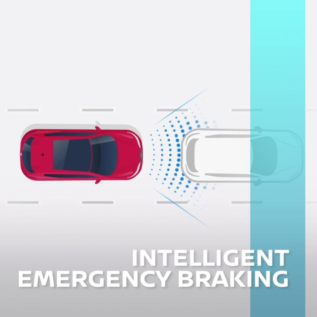 Prepared for the unexpected. Nissan Intelligent Emergency Braking immediately br...