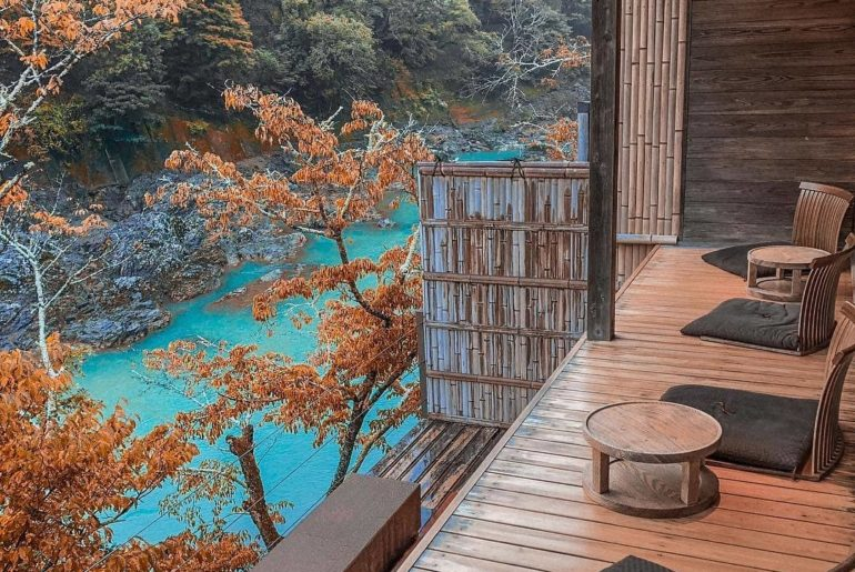 We could sit admiring the view from Hoshinoya Kyoto for HOURS!  Located in the h...