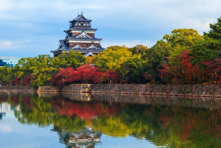 "Hiroshima Castle is nicknamed the ""Carp Castle."" It was reconstructed after the ..."