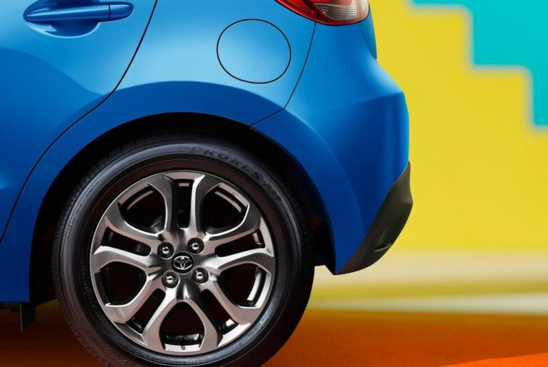 Dark, gunmetal finished wheels bring out the sporty side of #Yaris. #LetsGoPlace...