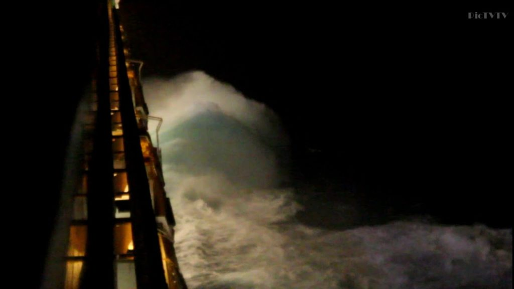 Cruise Ship Costa Fortuna in storm at East China Sea | Big waves