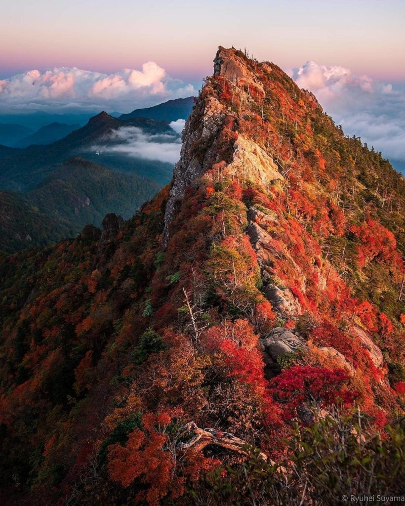 Talk about an autumnal view!  Pictured is Tengudake, the 1982m high, iconic peak...