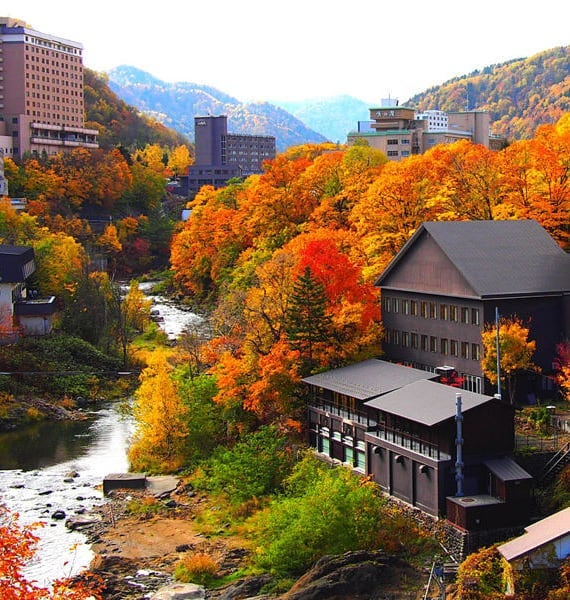 Hot springs + autumn leaves = the perfect match! Jozankei Onsen, located inside ...