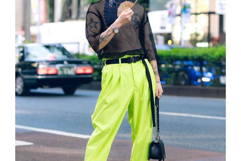 Tatsuya (@ta.tsu.ya) wearing a neon street style in Harajuku. His look features ...