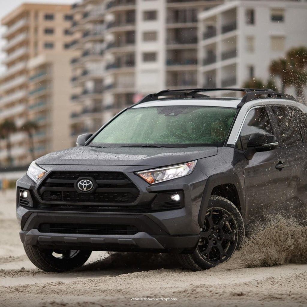 Those matte black 18-inch TRD alloy wheels are there for more than just good loo...