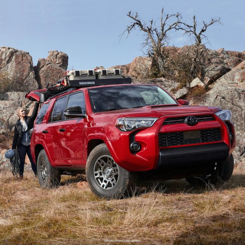 Black accents and 17-in #TRD matte-gray alloy wheels give the all new #4Runner V...