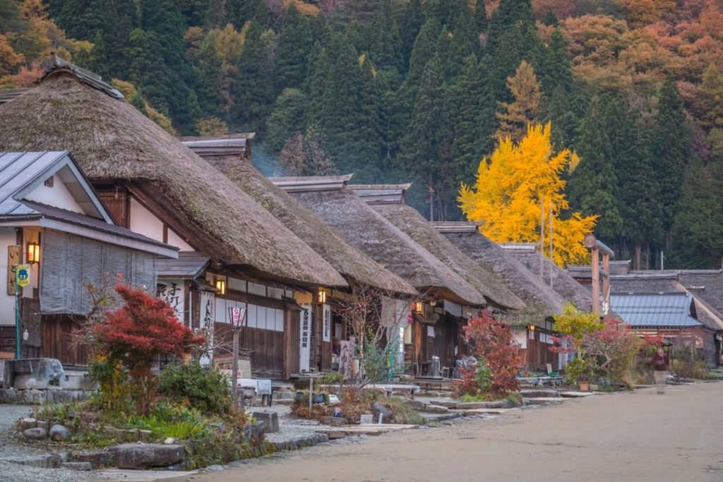 Ouchijuku in Fukushima Prefecture is lined with beautiful thatched roof farmhous...