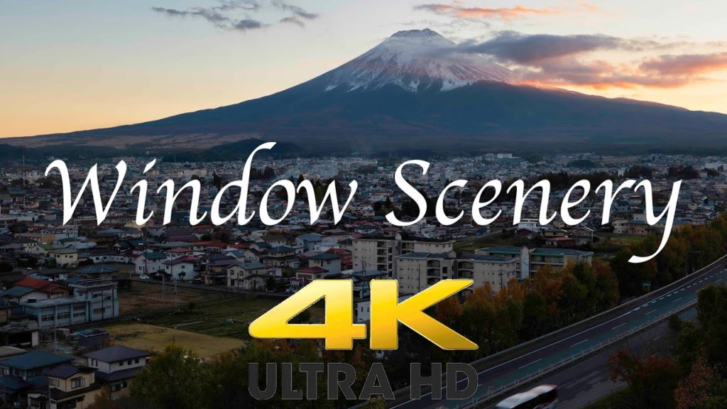 【4K Window Scenery】 Mt. Fuji over the Highway at Sunset【No Looping】