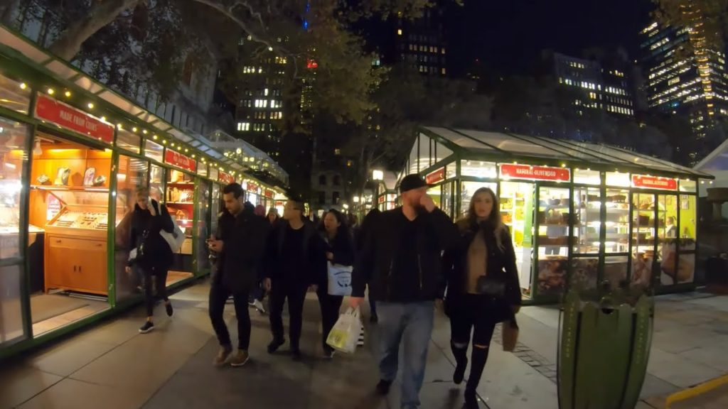 ⁴ᴷ⁶⁰ Walking NYC (Narrated) : Bryant Park Winter Village (November 11, 2019)