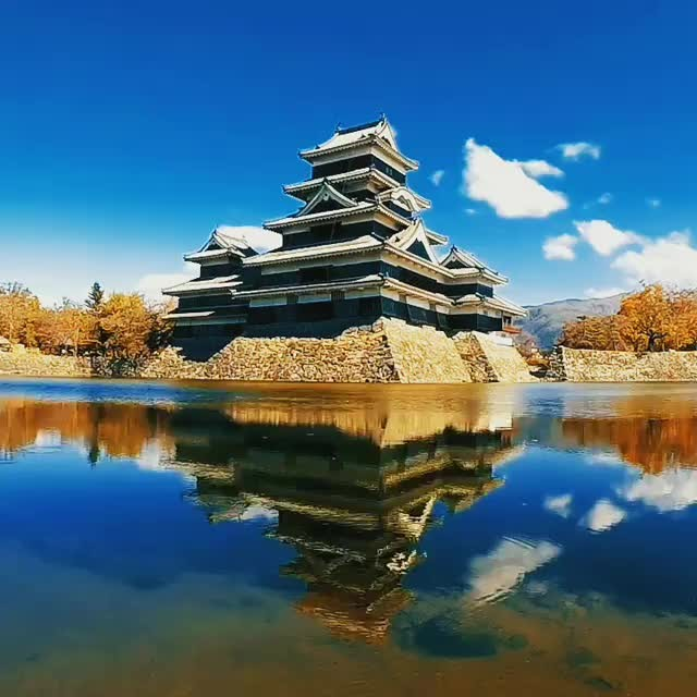 """Matsumoto Castle often gets the nickname of """"crow castle"""" due to its black exter..."""