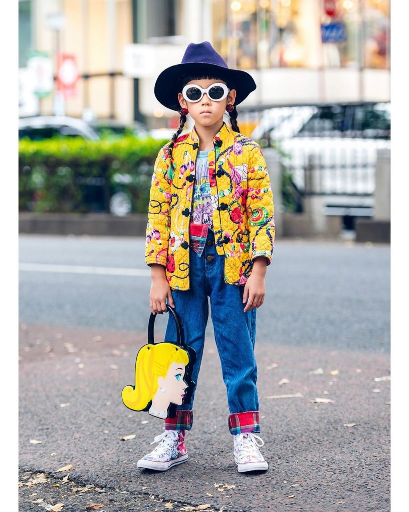 7-year-old Japanese student Rino (@lino_queenofvintage) on the street in Harajuk...